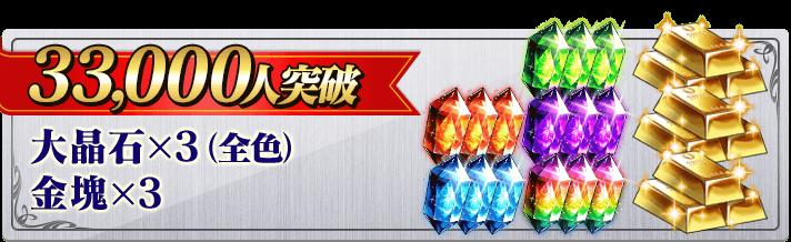 33,000人突破 大晶石×3(全色) 金塊×3